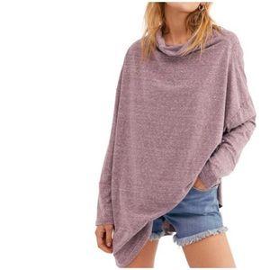 FREE PEOPLE Cowl Neck Tunic Top Oversized Purple M